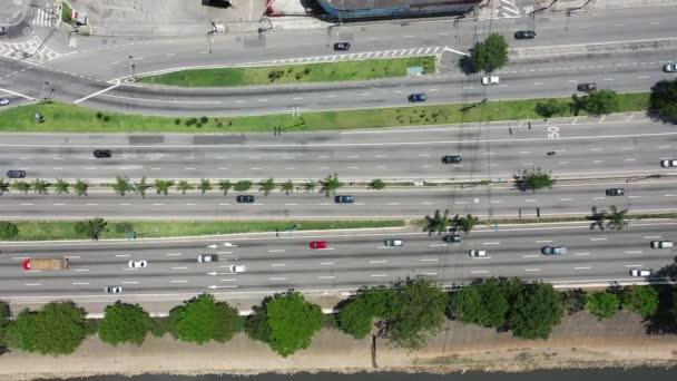 Městská životní scéna Sao Paula, Brazílie. Road krajina. Dálniční scéna. Pohled na město. Městská životní scéna Sao Paula, Brazílie. Road krajina. Dálniční scéna. Pohled na město. Městská životní scéna Sao Paula, Brazílie. Silniční krajina.HIghway.