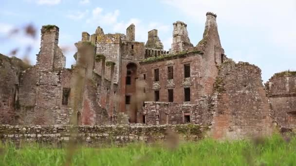 Ancient Ruins of European Scottish Fortress, Caerlaverock, Surrounded By Nature