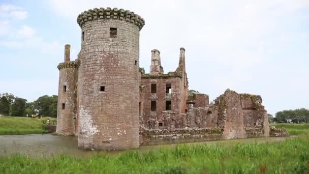 Ancient Ruins of European Scottish Fortress Caerlaverock, Surrounded By Nature