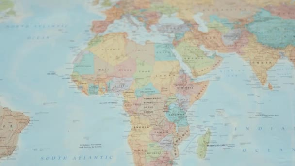 Circrling View of the African Continent on a Colorful World Map