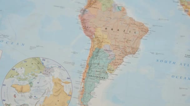Circrling View of South America on a Colorful World Map