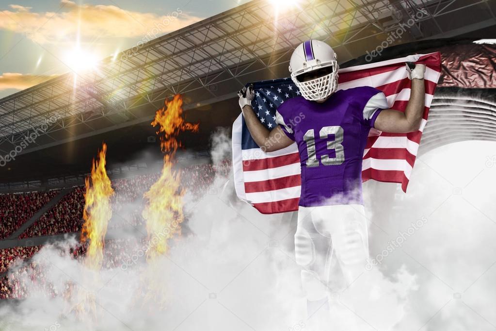 c639842f4c8 Football Player with a purple uniform — Stock Photo © betochagas ...