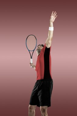 Tennis player with a red shirt.