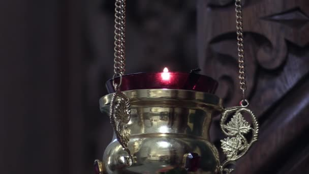 icon lamp from brass in orthodox church, religious concept