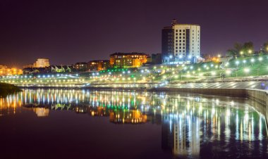 Night view on river Tura, and Embankment in Tyumen