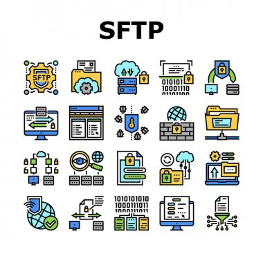 Ssh, Sftp File Transfer Protocol Icons Set Vector. Security And Protection Data Server And Information, Network Folder And Sftp File Collection Concept Linear Pictograms. Color Contour Illustrations icon