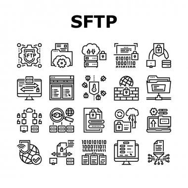 Ssh, Sftp File Transfer Protocol Icons Set Vector. Security And Protection Data Server And Information, Network Folder And Sftp File Black Contour Illustrations icon