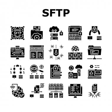 Ssh, Sftp File Transfer Protocol Icons Set Vector. Security And Protection Data Server And Information, Network Folder And Sftp File Glyph Pictograms Black Illustrations icon