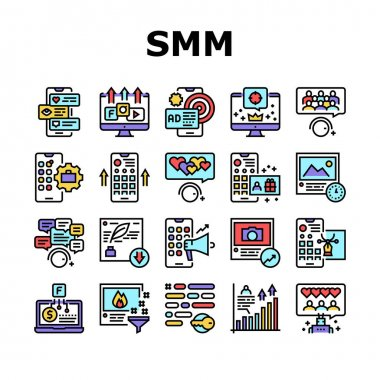 Smm Media Marketing Collection Icons Set Vector. Robotic Winding Up Likes And Viewing, Social Advertising And Promotion, Smm Service Concept Linear Pictograms. Color Contour Illustrations icon