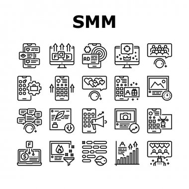 Smm Media Marketing Collection Icons Set Vector. Robotic Winding Up Likes And Viewing, Social Advertising And Promotion, Smm Service Black Contour Illustrations icon