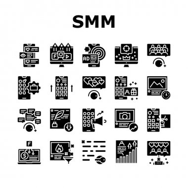 Smm Media Marketing Collection Icons Set Vector. Robotic Winding Up Likes And Viewing, Social Advertising And Promotion, Smm Service Glyph Pictograms Black Illustrations icon