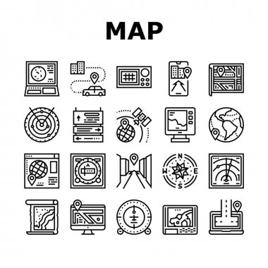 Map Location System Collection Icons Set Vector. Map Location And Gps Satellite Navigation, Direction And Distance, Radar And Compass Black Contour Illustrations icon