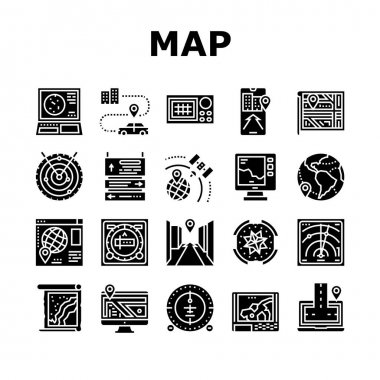 Map Location System Collection Icons Set Vector. Map Location And Gps Satellite Navigation, Direction And Distance, Radar And Compass Glyph Pictograms Black Illustrations icon