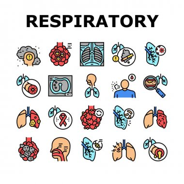 Respiratory Disease Collection Icons Set Vector. Lungs Infection, Asthma And Tuberculosis, Bronchiectasis And Cystic Fibrosis Respiratory Ill Concept Linear Pictograms. Contour Color Illustrations icon