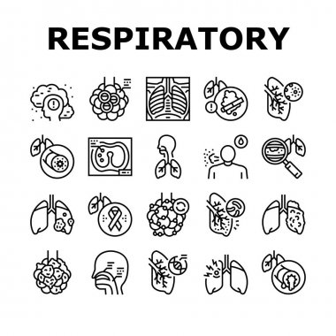 Respiratory Disease Collection Icons Set Vector. Lungs Infection, Asthma And Tuberculosis, Bronchiectasis And Cystic Fibrosis Respiratory Ill Black Contour Illustrations icon