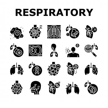 Respiratory Disease Collection Icons Set Vector. Lungs Infection, Asthma And Tuberculosis, Bronchiectasis And Cystic Fibrosis Respiratory Ill Glyph Pictograms Black Illustrations icon