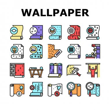 Wallpaper Interior Collection Icons Set Vector. Waterproof And Paper, Vinyl And Non-woven, Textile And Velor Wallpaper Rolls, Production Concept Linear Pictograms. Contour Color Illustrations icon