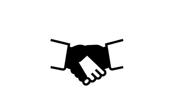handshake padlock line icon animation