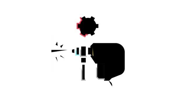 fal fúrás színes ikon animáció