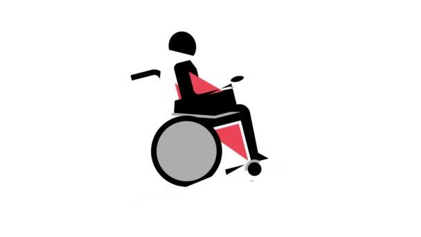 Behinderte im Rollstuhl fahren Farb-Symbol-Animation