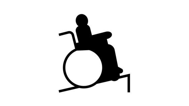 Behinderte im Rollstuhl Reiten Linie Symbol Animation