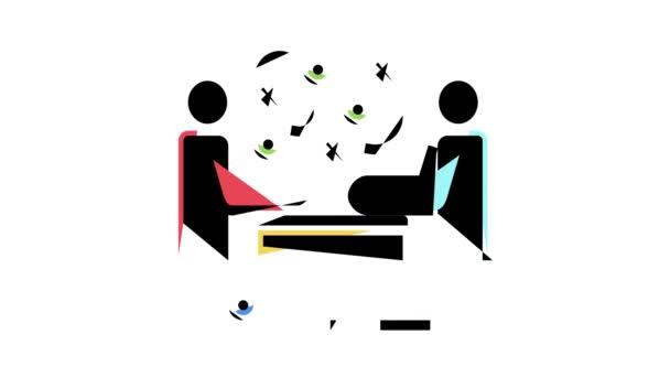 eladó és ügyfél kommunikáció színes ikon animáció