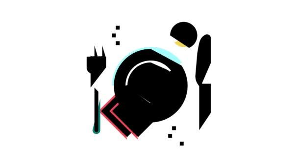 animace barevných ikon talířů, vidlic a nožů