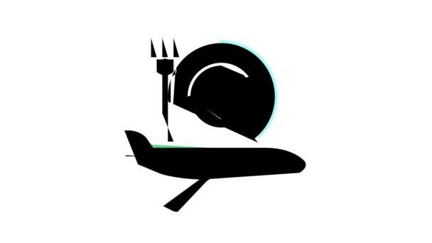 animace ikon barevného cateringu letadla