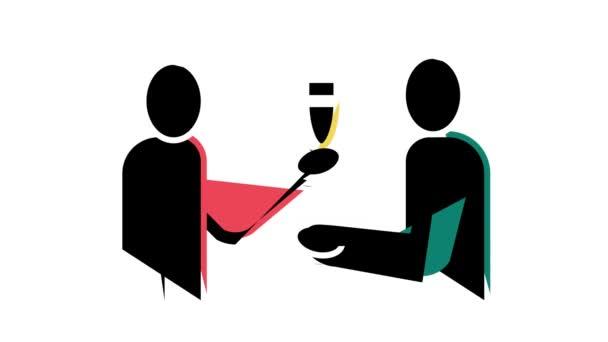číšník nabízející nápoje barevné ikony animace