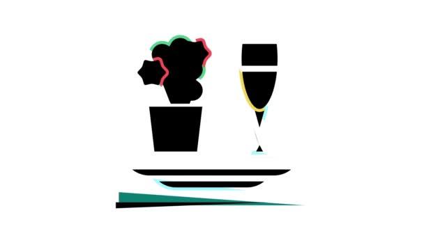 romantická večeře barva ikona animace
