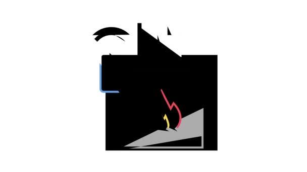 Kamin-Steuerungssystem der Smart Home-Farb-Icon-Animation