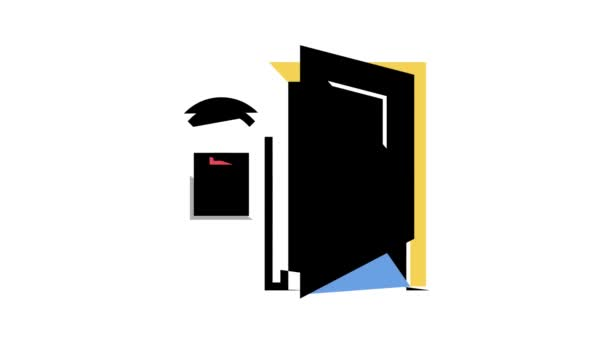 Zugangssystem Smart Home, Fernbedienung offene Tür Farb-Icon-Animation
