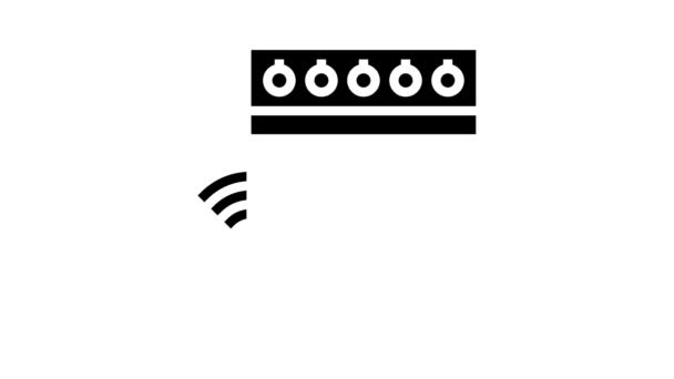Küchenherd Fernbedienung Glyphen-Symbol Animation