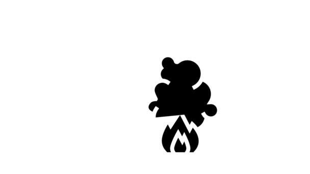 Brandmeldesystem von Smart Home-Glyphen-Icon-Animation