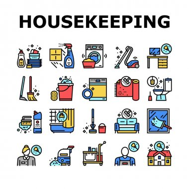 Housekeeping Cleaning Collection Icons Set Vector. Laundry, Window Sponge And Vacuum Cleaner. Washing Machine And Cleaning Service Worker Concept Linear Pictograms. Contour Color Illustrations icon