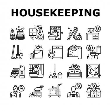Housekeeping Cleaning Collection Icons Set Vector. Laundry, Window Sponge And Vacuum Cleaner. Washing Machine And Cleaning Service Worker Black Contour Illustrations icon