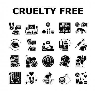 Cruelty Free Animals Collection Icons Set Vector. Not Tested On Rabbit And Dogs, Cruelty Free And Stop Chemical And Cosmetics Test Glyph Pictograms Black Illustrations icon