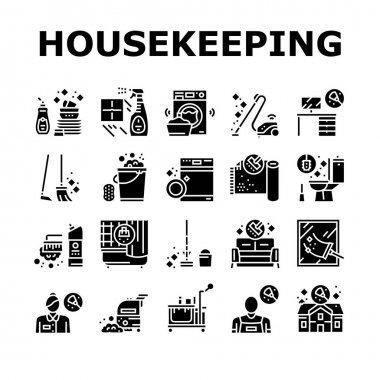 Housekeeping Cleaning Collection Icons Set Vector. Laundry, Window Sponge And Vacuum Cleaner. Washing Machine And Cleaning Service Worker Glyph Pictograms Black Illustrations icon