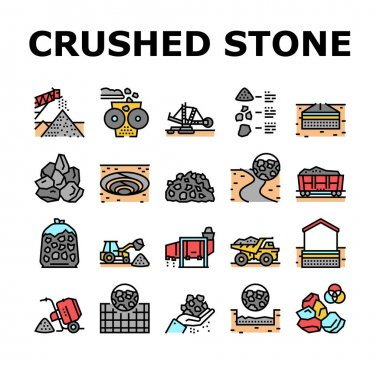 Crushed Stone Mining Collection Icons Set Vector. Heavy Machinery And Excavator, Dump Truck And Railway Carriage, Stone Mine Equipment Concept Linear Pictograms. Contour Color Illustrations icon