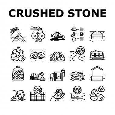 Crushed Stone Mining Collection Icons Set Vector. Heavy Machinery And Excavator, Dump Truck And Railway Carriage, Stone Mine Equipment Black Contour Illustrations icon