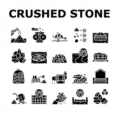 Crushed Stone Mining Collection Icons Set Vector. Heavy Machinery And Excavator, Dump Truck And Railway Carriage, Stone Mine Equipment Glyph Pictograms Black Illustrations icon