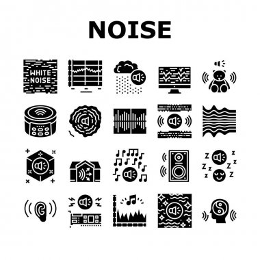 White Noise Hearing Collection Icons Set Vector. Speaker Dynamic And Audio Card, Relaxation And Music For Sleep, Rain Noise And Sound Glyph Pictograms Black Illustrations icon