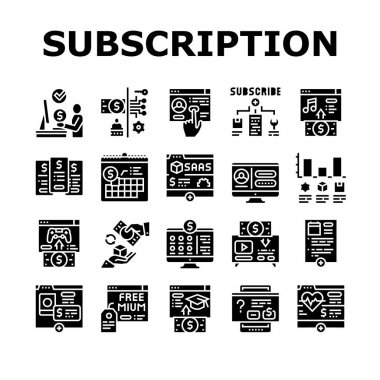 Subscription Content Collection Icons Set Vector. Buying Video Game And Music, Electronic Book And Film, Subscription On Blog Or Video Channel Glyph Pictograms Black Illustrations icon