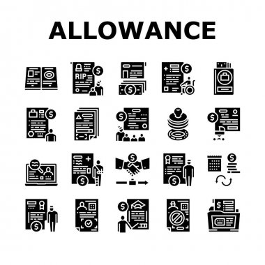 Allowance Finance Help Collection Icons Set Vector. Checking Status And Issue Of Allowance, Loss Of Breadwinner And Pregnancy Glyph Pictograms Black Illustrations icon
