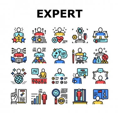 Expert Human Skills Collection Icons Set Vector. Universal And Business Expert, Lawyer And Economic, Technical And Social, Art And Medical Concept Linear Pictograms. Contour Color Illustrations icon