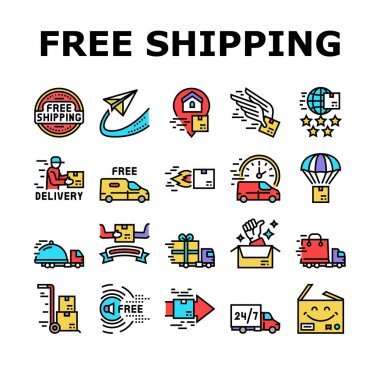 Free Shipping Service Collection Icons Set Vector. Delivery Boy And Truck, Aircraft Worldwide Free Shipping And Warehouse Storage Concept Linear Pictograms. Contour Color Illustrations icon