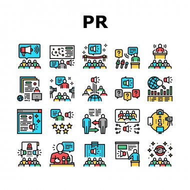 Pr Public Relations Collection Icons Set Vector. Pr Strategy And Events, Interview And Press Release, Meeting And Responses To Media Inquiries Concept Linear Pictograms. Contour Color Illustrations icon