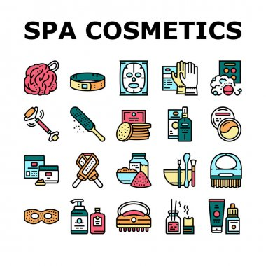 Spa Cosmetics Beauty Collection Icons Set Vector. Spa Cosmetics And Accessories, Mask And Aqua Bomb, Special Gloves And Brush Concept Linear Pictograms. Contour Color Illustrations icon