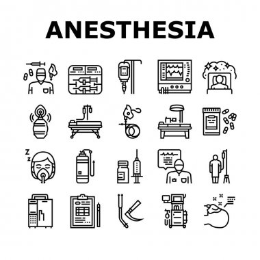 Anesthesiologist Tool Collection Icons Set Vector. Syringe Pump, Anesthesia Machine And Heart Rate Monitor Anesthesiologist Equipment Black Contour Illustrations icon