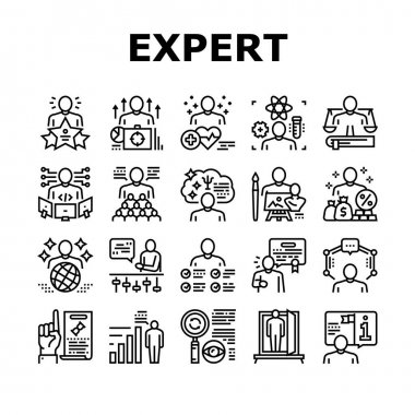 Expert Human Skills Collection Icons Set Vector. Universal And Business Expert, Lawyer And Economic, Technical And Social, Art And Medical Black Contour Illustrations icon